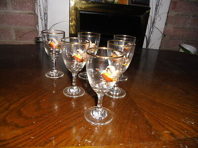 6 vintage shot glasses with pheasants
