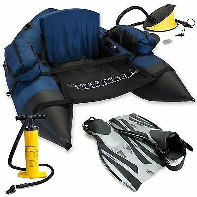 Roy Fisher Supercaster Belly Boat Big Pack, Boot, Flossen und Doppelhub pumpe
