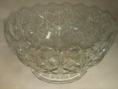 Large Crystal Cut Glass Footed Pedestal Bowl 10'' X 8.5'' X 6''