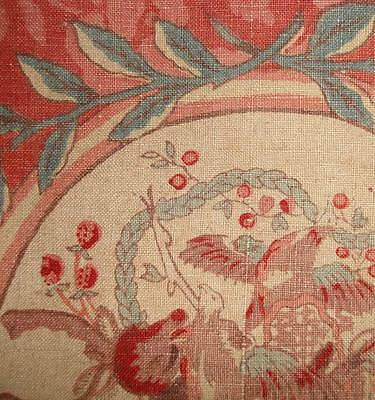 BEAUTIFUL FRAGMENT 19th CENTURY FRENCH LINEN, ROSES, BIRDS STRAWBERRIES