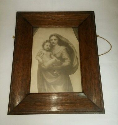 """Antique Picture - Boots 1911 Wooden Framed Glass Woman & Child - 17""""x14"""" - VGC"""