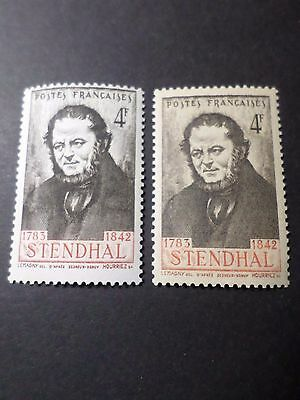 FRANCE 1942, VARIETE COULEURS timbre 550 STENDHAL neufs** MNH VARIETY STAMPS