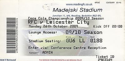 Ticket - Reading v Leicester City 26.10.09
