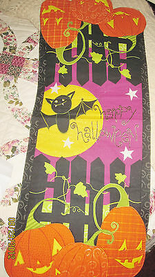 Halloween Party Table runner SALE Stars Cats haunted bats Pumpkins quilt