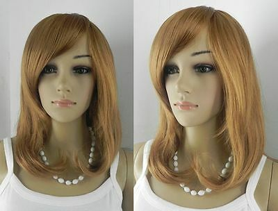 Hot  Medium Curly Oblique Bangs  Cosplay Women Hair  Wig