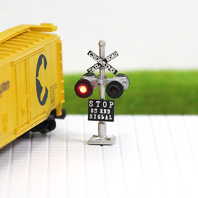 JTD1506R 6pcs N Scale  Railroad Crossing Signals 4 heads LEDs made Long Life 12v