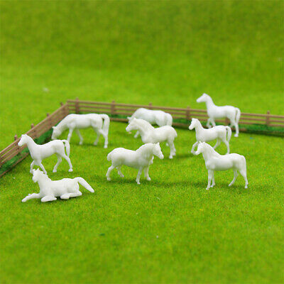 AN8702B 100pcs 1:87 UnPainted White Farm Animals Horses HO Scale