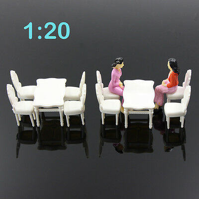 ZY03020 2 Sets White Square Dining Table Chair Settee Railway Model 1:20 G Scale