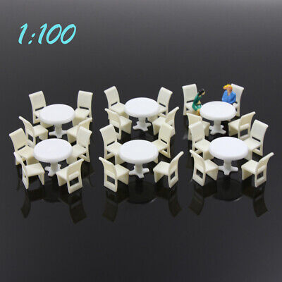 ZY01100 6pcs White Round Dining Table Chair Settee Railway Model 1:100 TT Scale