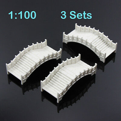 GY30100 3set plastic arch bridge White Chinese traditions 1:100 TT Scale railway