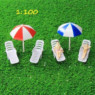 TYS33100 2Sets Parasols Sun Loungers Deck Chair Bench Settee 1:100 Model Train