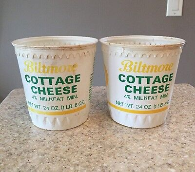 2 Vintage Biltmore Dairy 1 Lb. Cottage Cheese Containers Asheville NC