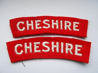 2ww   pair of  CHESHIRE regiment   cloth shoulder titles  [variation C]