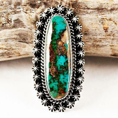 Happy Piasso Natural PILOT MT Turquoise Ring Sterling Silver Native American 8.5