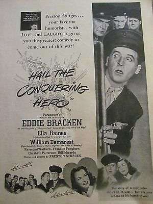 Hail the Conquering Hero, Eddie Bracken, Full Page Vintage Promotional Ad