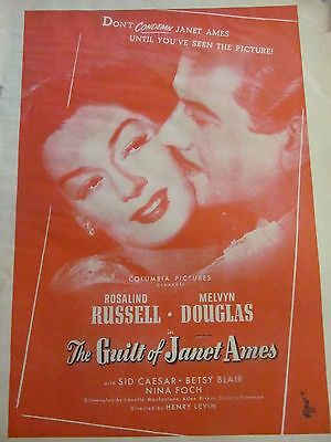 The Guilt of Janet Ames, Rosalind Russell, Melvyn Douglas Vintage Promotional Ad