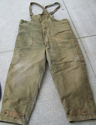 Vtg WWII USN Lined Wool DECK BIB PANTS military work  size XL. Insulated.