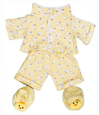 """Yellow chick pyjamas pjs & slippers outfit teddy clothes fit 15"""" build a bear"""