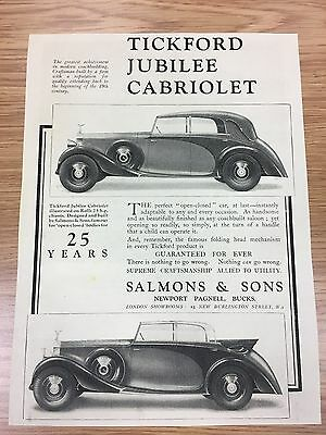 Very Rare 1935 TICKFORD / Salmons & Sons A4 Vintage B&W Car Advert L4