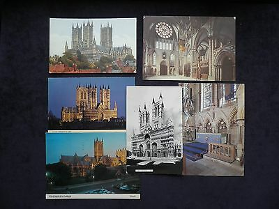 6 Vintage Postcards Of Lincoln Cathedral