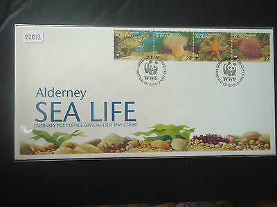 alderney 1993 sea life (strip of 4 set) first day cover