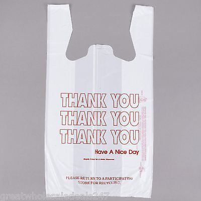 """WHITE """"THANK YOU"""" PLASTIC T-SHIRT BAG (Wholesale Lots of 1,400)"""