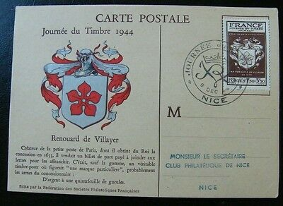 Timbres France FDC Carte journee du timbre JT 1944 Nice