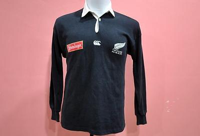 VINTAGE STEINLAGER CANTERBURY of NEW ZEALAND POLO RUGBY ALL BLACKS SHIRT S 90s