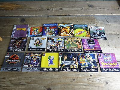 Job Lot Of 18 Various Dreamcast, Game Boy Colour and PlayStation Game Manuals