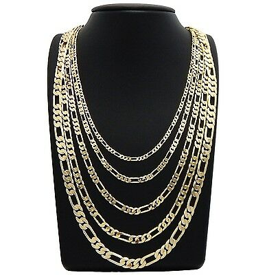 """Men italian Figaro link Chain 14k Gold Plated 3mm to 7mm 18"""" 20"""" 24"""" 30 Necklace"""