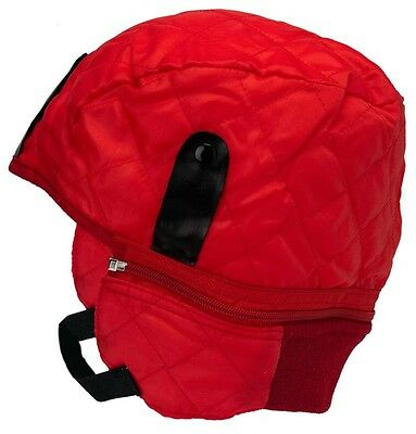 Quilted thermal helmet liner RED detachable neck warmer elastic chin strap NEW