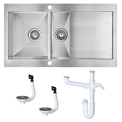 Stainless Steel Reversible Kitchen Sink & Drainer 1.5 Bowl Damaged