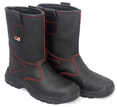 Rigger Boots Mens Black Leather Steel Toe Cap Safety Work Wellington Shoes Size
