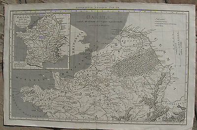 1807 Antique Map - Roman Province of Northern France in the time of Augustus -