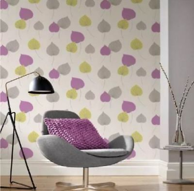 Flower Wallpaper Leaf Leaves Floral Textured Glitter White Green Purple Grey
