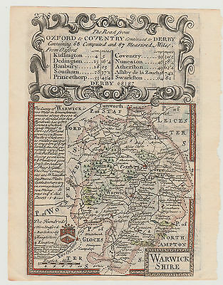 1736 Bowen Road Map- COUNTY OF WARWICKSHIRE - Basingstoke to Chichester, Sussex