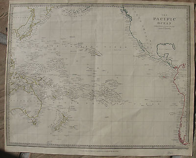 1840 Large Antique Map - THE PACIFIC OCEAN - Australia to North America - SDUK