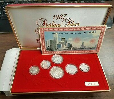 1987 Singapore Sterling Silver 6 Coin Proof Set