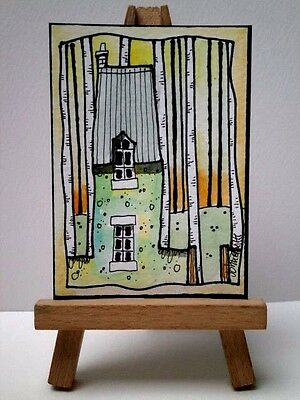 Original Watercolour Painting ACEO - Bit of A Crowded Wood