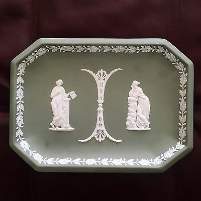 Lovely Antique Wedgwood Green Jasperware Plaque Excellent Condition