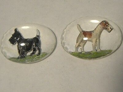 Hand Painted intaglio Fox Terrier & Black Scottie Dog Glass Carved Beads