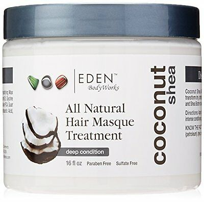 Natural Coconut Shea Hair Masque Treatment - Safe for Color Treated Hair 16 oz