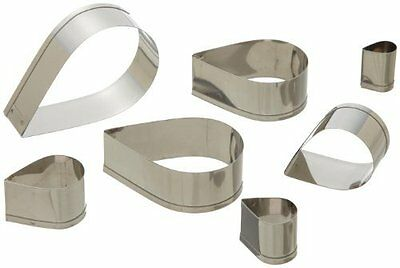 Plain 6 Tear Drop Cutter Set - Stainless Steel Sharp Cutting Edges by Ateco