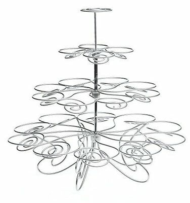 4 Tier Cupcake Stand to Hold 23 Cupcakes Best Party Centerpiece - Silver
