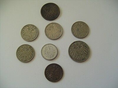8 German Empire Coins 1, 2, 5 & 10 Pfennig 1897, 1898, 1902, 1906, 1908, 1917,