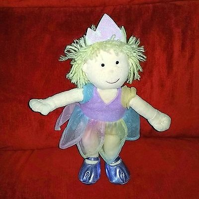 Animal Alley Blonde Princess Doll 12in Plush Purple Shoes Pastel Colored Dress
