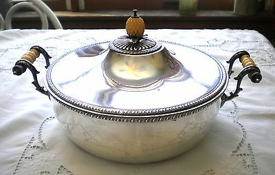 Wonderful 3 Piece Silver Plate Covered Vegetable Dish With Bone ? Handles