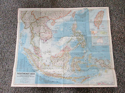 Vtg 1955 National Geographic Magazine Large Color Map Southeast Asia 557