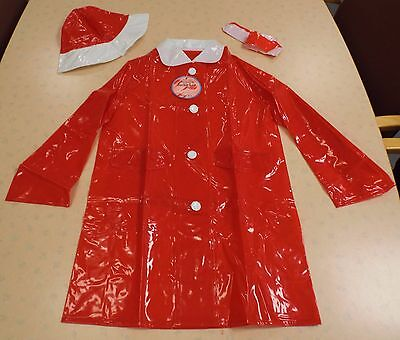 "VINTAGE 1970's UNWORN GIRLS RED ""LEETOGS"" PVC RAINCOAT & HAT SET AGE 6-7 YEARS"