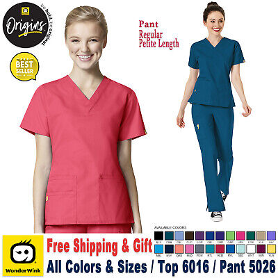 WonderWink Origins [XS-3XL] Women's Scrubs Set Medical Top Bottom Work Uniform